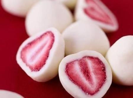 Frozen Yogurt Covered Strawberries Recipe: Slice strawberries in half. Spoon Greek yogurt onto a shallow dish and dip the strawberries in the yogurt. Place dipped strawberries in a plastic container lined with parchment paper and freeze.