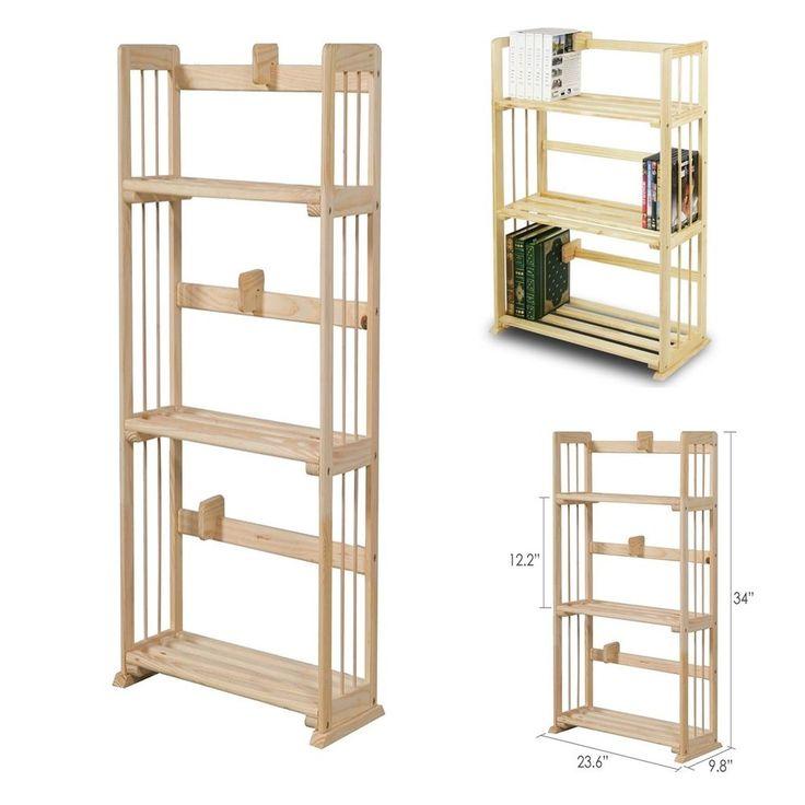 3tier pine solid wood cabinet stockpiling rack bookshelf furniture book showcase #PerfectAllinaceLad #Contemporary