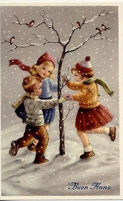 Kids Art Girls & Boy dancing in the Snow Birds Xmas Vintage PC Circa 1930 C