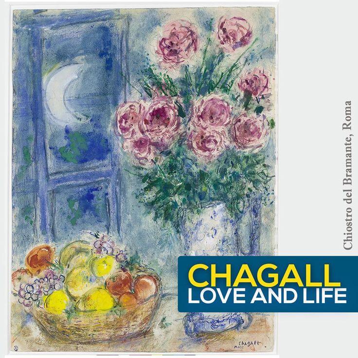 """- Alla fine degli anni 50 l'artista scopre una tecnica antica, la pittura su vetro, alla quale si avvicina dopo un attento studio delle vetrate della cattedrale di Chartres. Questa tecnica lo affascina anche per la sua capacità di materializzare la luce nel colore, che si carica di una intensa luminosità - #ChagallRoma,   In mostra: """"Senza titolo (natura morta con frutta e fiori)"""", 1956/57 - Gouache, acquerello e pastello a cera su carta.   INFO T 06916508451 / http://goo.gl/3IzZxp"""