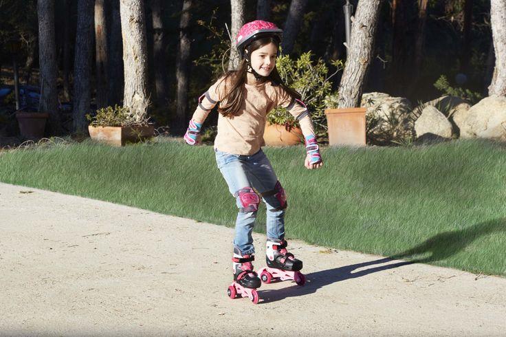 Kit completísimo de patines y protecciones para tu peque. ¡Son evolutivos acordes al crecimiento de tu pequeño! Descúbrelos :) #patines #patinar #niños #imaginarium