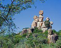 Mother and Child balancing rocks, Matobo National Park, Zimbabwe.