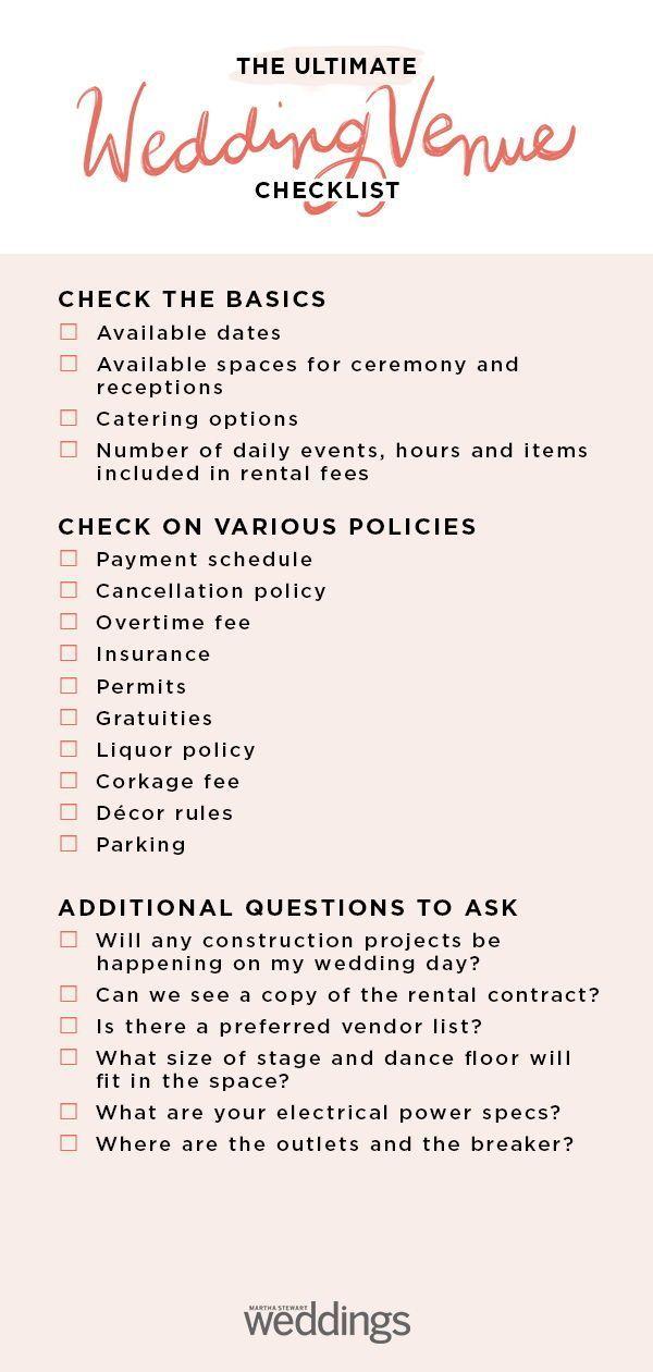 Wedding Venue Checklist In 2020 Wedding Venues Checklist Wedding Checklist Wedding Venues