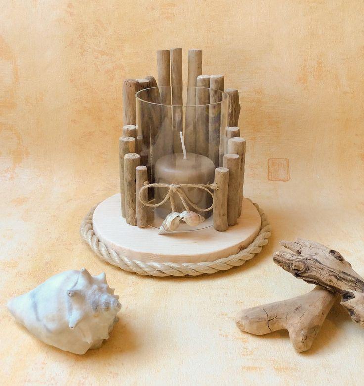 Bougeoir en bois flott par l 39 atelier de corinne for Atelier bois flotte