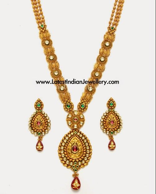 Latest Antique Gold Kundan Haram