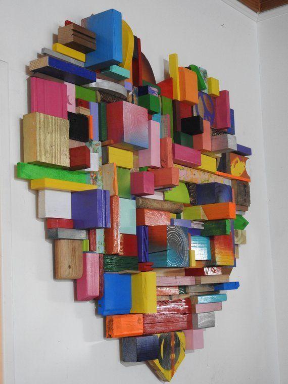 Liebe, Frieden, Liebe & Glück, Herz, Wandkunst, Big Blocks, 3D Wall Art One – 3D Sculp