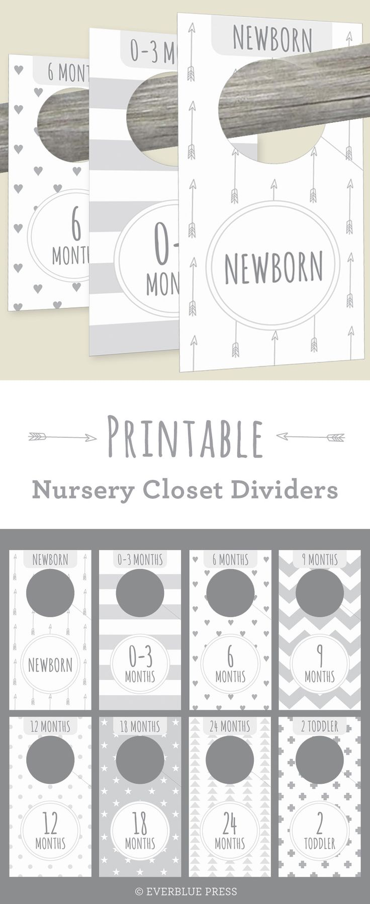 These cute Printable Nursery Closet Dividers in gender neutral gray patterns help organize your baby's clothes! Newborn decor from Everblue Press on etsy