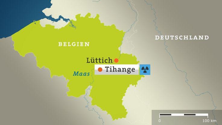 Karte: Belgien mit Lüttich und Tihange