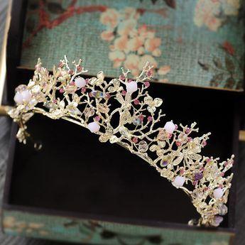 gold pink tiara headband baroque crown crystal rhinestone tiaras crowns hairband wedding hair jewelry bridal accessories A449