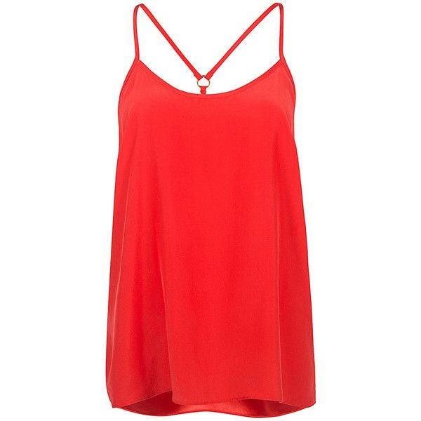 Alice & Trixie - Natalia Cami (770 PLN) ❤ liked on Polyvore featuring tops, racerback camisole, red camisole, racer back cami, strappy cami and red cami