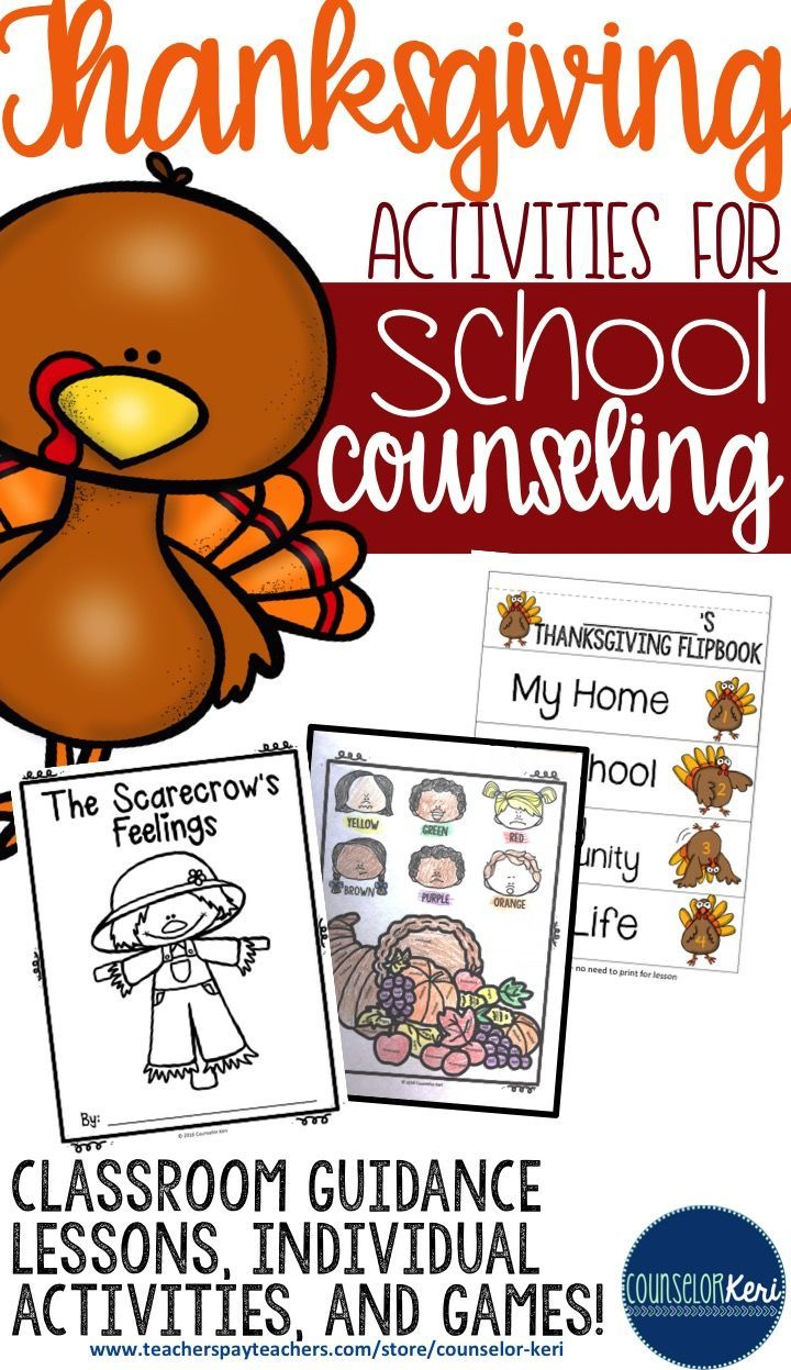 Thanksgiving and fall-themed resources and activities for elementary school counseling! classroom guidance lessons, individual activities, and games! - Counselor Keri
