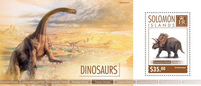 Post stamp Solomon Islands SLM 14604 bDinosaurs (Anchiceratops)