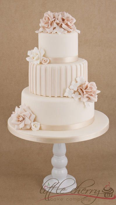 Pale Vintage Ruffly Roses Wedding Cake - Cake by Little Cherry - CakesDecor