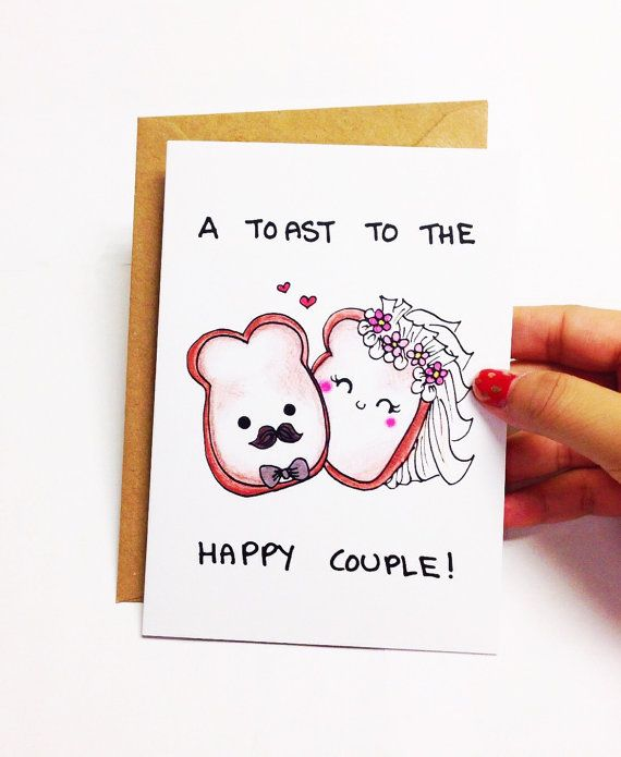 Funny Wedding Card Congratulations Congrats Toast To He Happy Couple