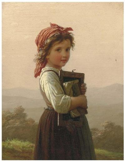 Gorgeous Painting Print of Little Schoolgirl by Johann Georg Meyer von Bremen, famous German artist. $11.99, via Etsy.