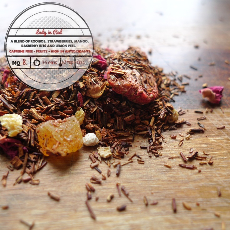 Red by T totaler:  A Blend of Rooibos, Strawberry, Mango, Raspberry Bits and Lemon Peel.