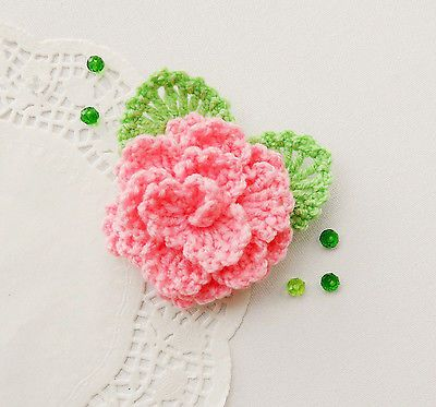 CROCHET LIGHT PINK FLOWER ROSE BROOCH APPLIQUE DECORATION MOTHER'S DAY GIFT in Crafts, Needlecrafts & Yarn, Crocheting & Knitting | eBay