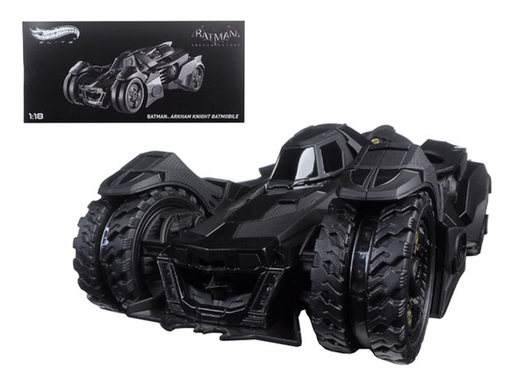 Hot wheels Batman Arkham Knight Batmobile Elite Edition 1/18 Diecast Model Car by Hotwheels - Brand new 1:18 scale diecast car model of Batman Arkham Knight Batmobile Elite die cast car model by Hotwheels. Brand new box. Rubber tires. Detailed interior, exterior. Made of diecast with some plastic parts. Dimensions approximately L-10.5, W-4, H-5 inches.-Weight: 4. Height: 8. Width: 15. Box Weight: 4. Box Width: 15. Box Height: 8. Box Depth: 7