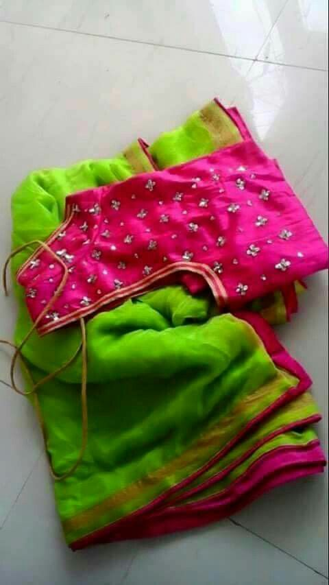 Bright neon green with contrast pink blouse