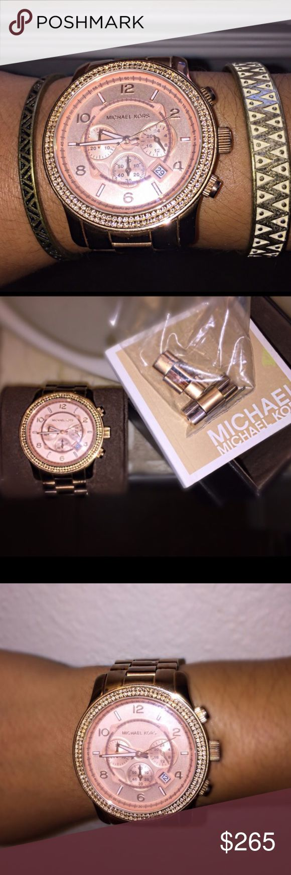 MK Rose Gold Oversized Watch MK5576 Michael Kors large face stainless steel watch in rose gold. All links, and booklet included in the box. Has a handful of scratches and wear on the side that clips on the wrist. Face of watch and diamonds are in excellent condition.  Beautiful watch, not sold any more.  Retails $250.00 new. NO TRADES. You will not be able to find this watch for anything less!!!! Michael Kors Accessories Watches