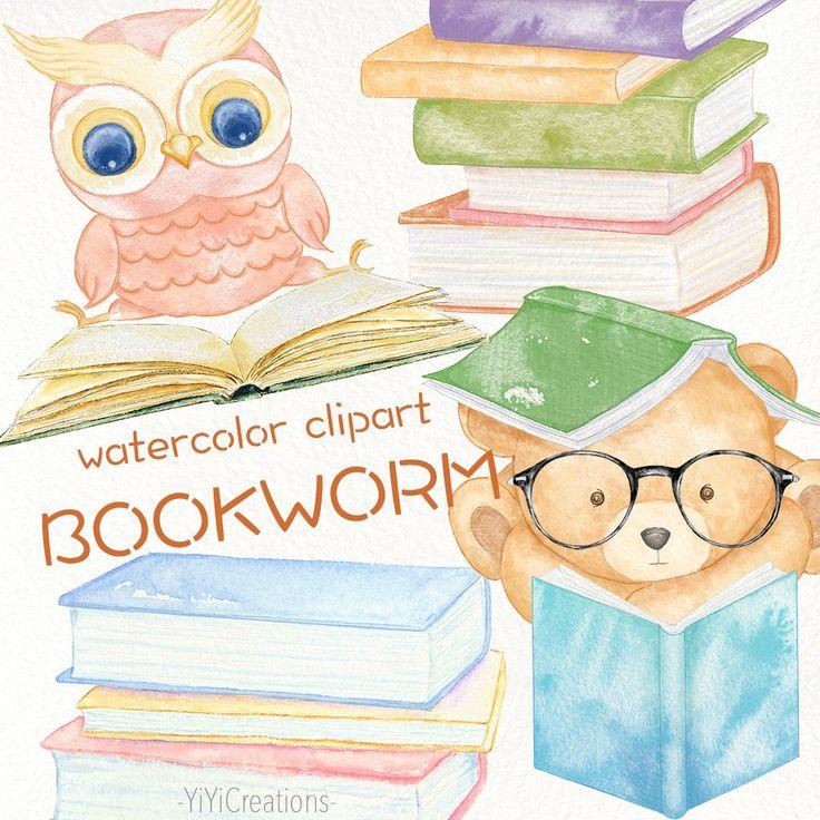Watercolor Bookworm clipart, Digital Book clip art ... (736 x 736 Pixel)