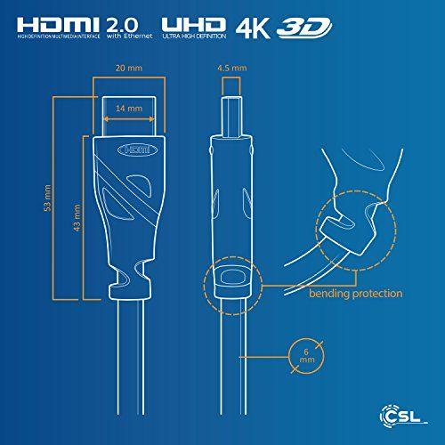 CSL – 1,5m Ultra HD 4k HDMI Câble | High Speed par Ethernet | Full HD 1080P / 4K Ultra HD 2160P / 3D / ARC et CEC | Câble Triple Blindage +…