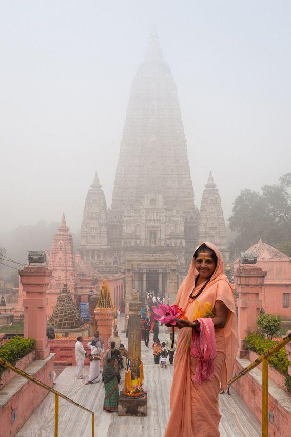 Pilgrim at Mahabodhi temple, Bodh Gaya, Bihar, India