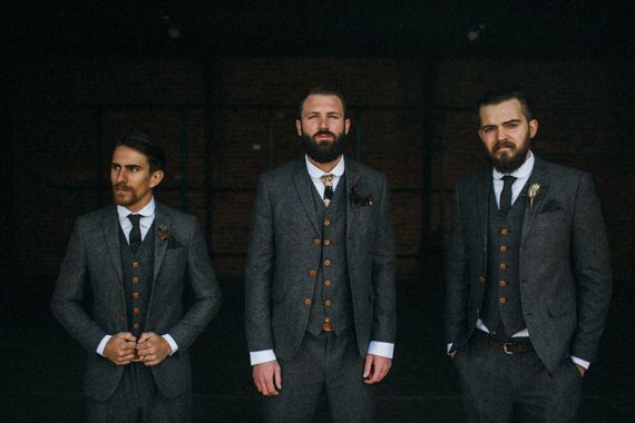 Groom & Groomsmen wearing tweed Snippets, Whispers and Ribbons – 5 Dapper Looks for Autumn Grooms