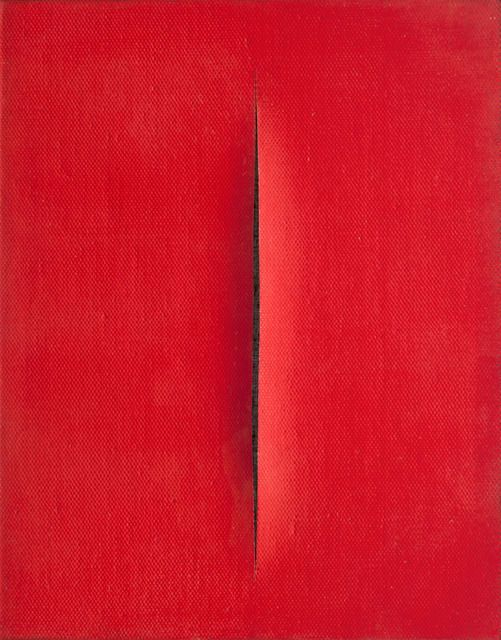 Concetto spaziale, 1964-1965, by Lucio Fontana | Throughout his prolific career, Lucio Fontana demonstrated a relentless interest in the relationship between surface and dimensionality. #Fontana