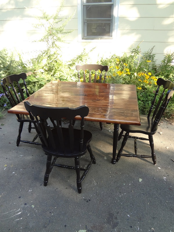 Heir And Space Vintage Refinished Solid Pine Dining Set