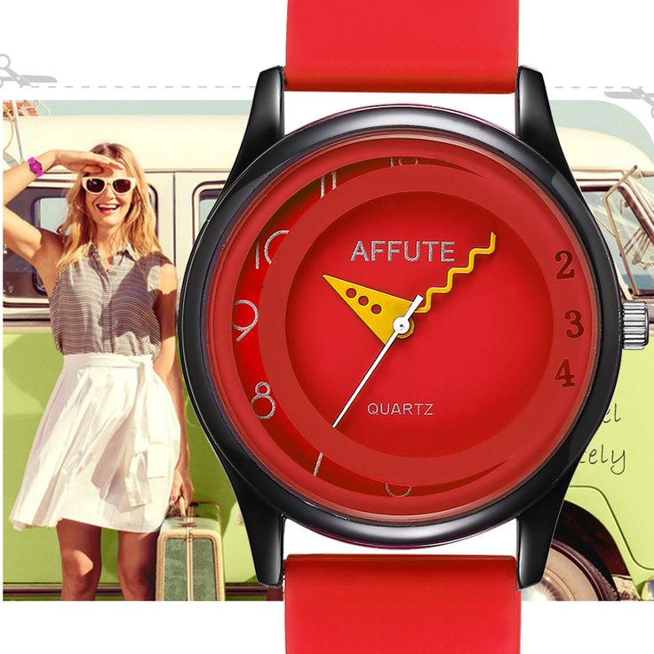AFFUTE Brand Fashion Casual Candy Red Silicon Rubber Strap Womens Sport Quartz Analog Watches Female Girls Lady Wristwatch Clock #Affiliate