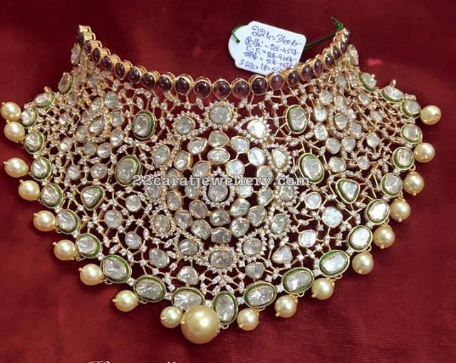 Pachi Work Heavy Kundan Choker Indian Wedding JewelryPakistani