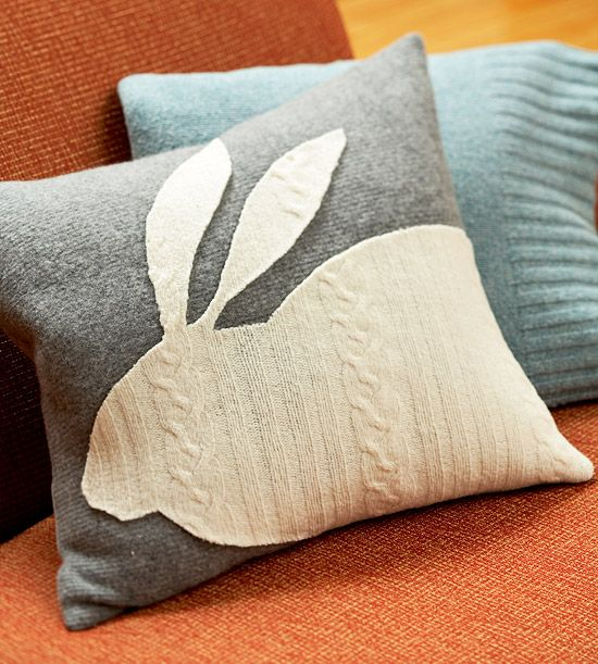 DIY pillows from old wool sweaters. A trip to the thrift store might be in order...