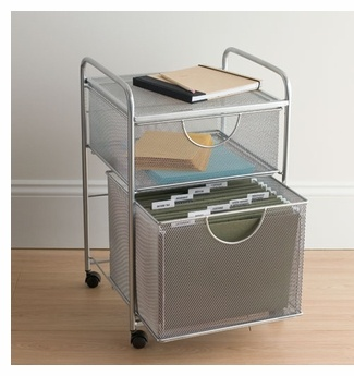 Silver Rolling Mesh File Cart With 2 Drawers Great For An Organized Office