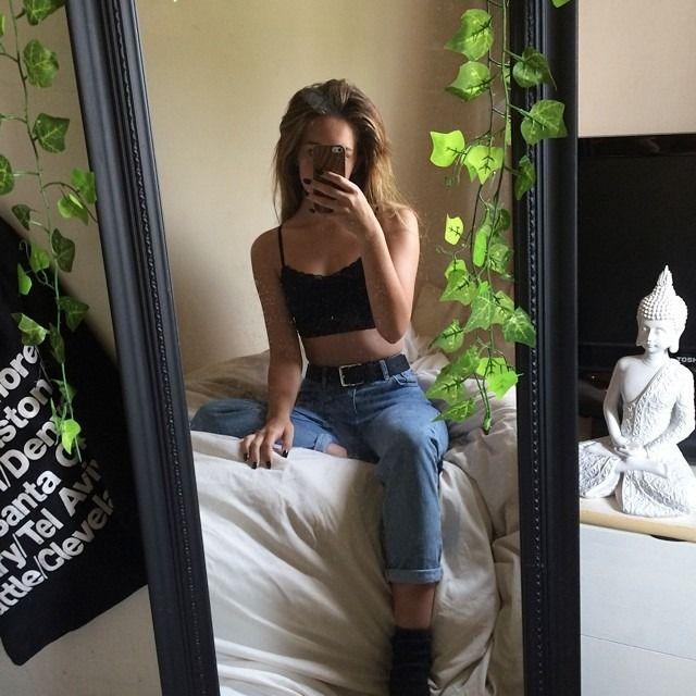 Decorated Black full body mirror