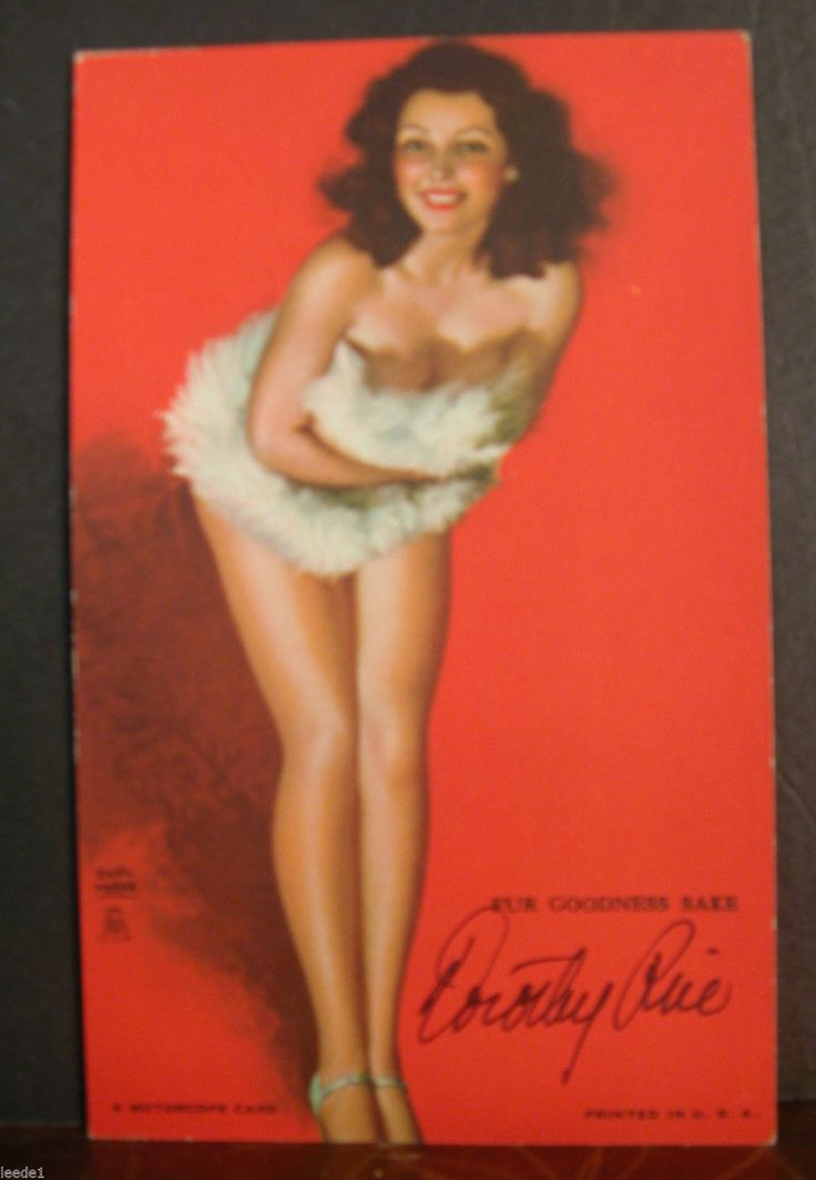 Earl Moran Mutoscope Card Fur Goodness Sake Hand Signed Dorothy Rice Model