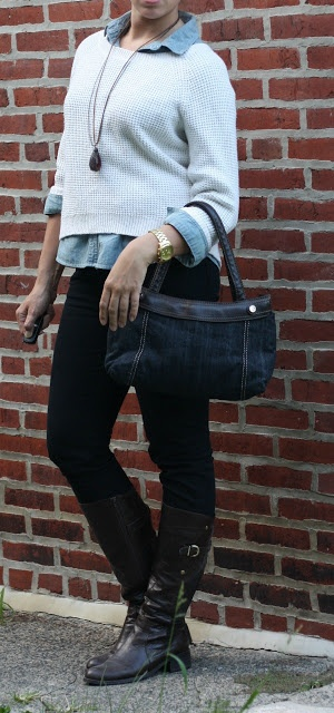 chambray, white sweater, burgandy jeans
