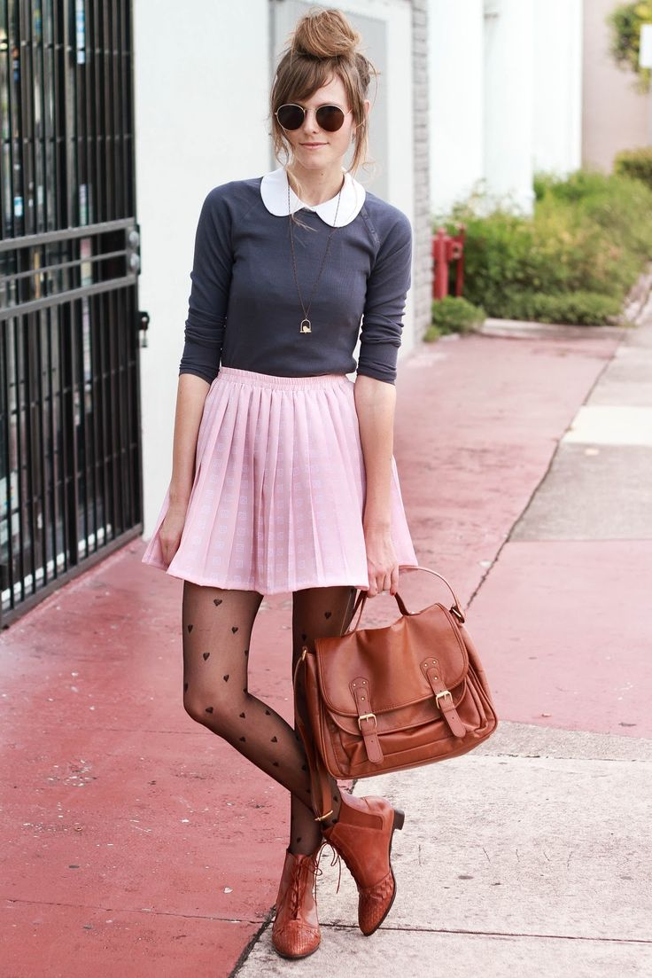 Channel a girlie Winter style with sweet tights and a pleated ...