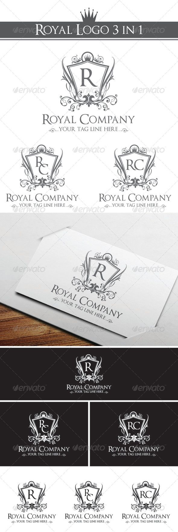 "Royal Company Logo Template #GraphicRiver Royal Company logo 3 in 1 Options An excellent Royal Company Logo Template highly suitable for leisure business, fashion and clothing businesses.- Elegant company logotype. Perfect for Hotels, Spa or Beauty Salon, Fashion, Winery… Industry with elegant and luxury style Easy to editing you can change letter word ""R"" & ""RC"" as you like Included: EPS_10 File is easy to editing. All font editable Font use"" .dafont /optimusprinceps.font Created: 21March13…"