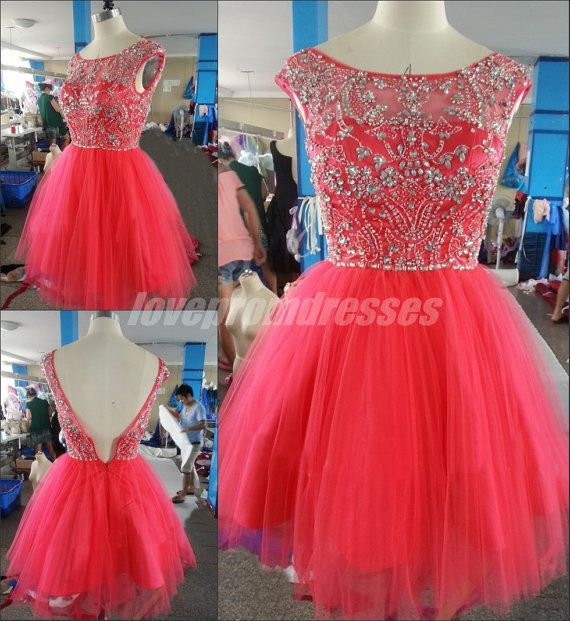 Pink Homecoming Dresses Short Prom Dresses Cocktail dresses 2014 New Arrival Scoop Open Back Tulle with Beading Party Dresses on Etsy, $129.99