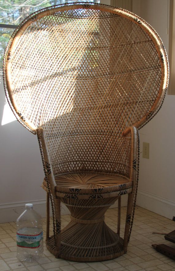 Antique Wicker Rattan PEACOCK FAN BACK Chair Vintage by phins81, $195.00    Luminous   Wicker, Wicker chairs, Canopy - Antique Wicker Rattan PEACOCK FAN BACK Chair Vintage By Phins81