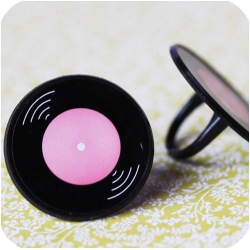Record Ring Cupcake Toppers $2.50 for 12