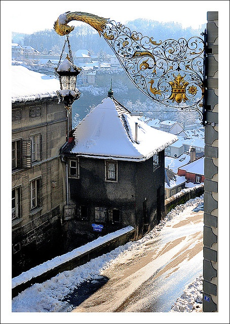 Fribourg under the snow    in Switzerland