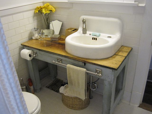 Website Picture Gallery love this little table for a vanity in this small bathroom Cottage Hill Diy Bar With Sink