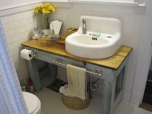 Vintage Sink Or Ikea Sink On A Vintage Dresser Or Table
