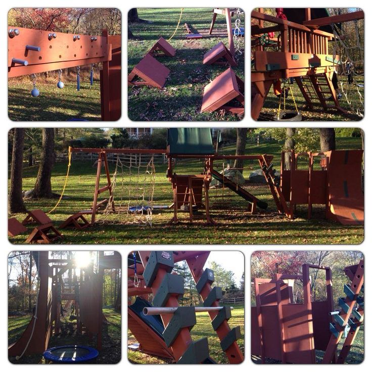 Transforming a playset into an American Ninja Warrior obstacle course. Found on Pinnacle Parkour's Facebook page. Pic 2 of 2