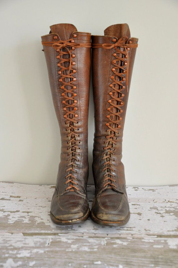 vintage 1930s leather lace up boots / rare by simplicityisbliss, $385.00