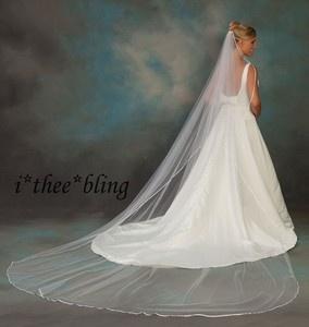 Cathedral Length Veil 3 8 Ribbon Edge 144x108 White Ivory
