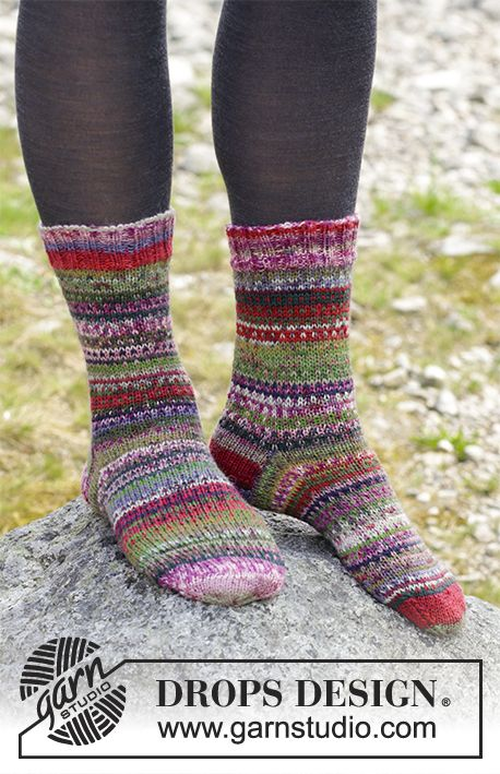 Rock Socks - Knitted socks with multi-coloured stripes. Sizes 35 - 43. The piece is worked in DROPS Fabel. Free knitted pattern DROPS 179-21