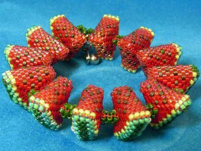 I'd probably quit after one slice :) watermelon bracelet... No instructions but great inspiration